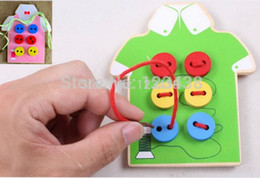 Wholesale Green Board Games - Wholesale-Green and Pink Wooden String Clasp Threading Button Up Board Games Toys Hand Eye Coordination Fine Motor Skills Development