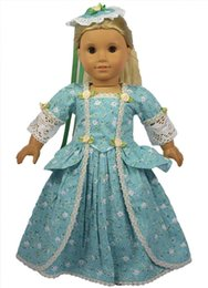 Wholesale American Girl Doll Patterns - Wholesale-Blue flower pattern doll accessories of 18 inch american girl doll formal dress gown