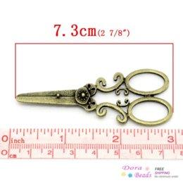 Wholesale Pendant Light Bronze - Charm Pendants Scissors Antique Bronze 7.3x3cm,10PCs (K02845) 8years pendant lighting dining room pendant energy pendant energy