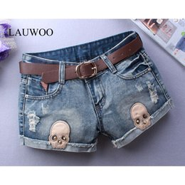 Discount plus size skinny belt - Wholesale- LAUWOO Sexy shorts Woman Skull Jeans Ripped Short Women Novelty Design Summer Blue Shorts Club Denim Jeans Without Belt