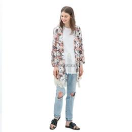 Wholesale Kimono European Style - Drop Shipping Women Floral Print Blouse Elegant Tassel Chiffon Cardigan European Style Woman Kimono Coat Blouses #005 SV005041