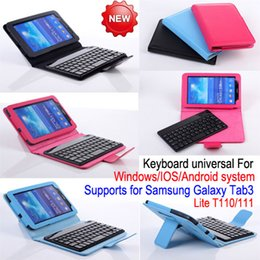 Wholesale Tab3 Accessories Wholesale - 7 inch Bluetooth Keyboard Leather Case Cover with Stand for Samsung Galaxy Tab3 Lite T110 T111 Universal Bluetooth V3.0 Detachable Keyboard