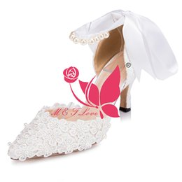Wholesale cheap satin heels - Brand New Cheap Shoes Ivory Lace Heels Bridal Shoes Pointed Toe Flower Beaded Wedding & Party Shoes WS0013I Customise Size 33 to 43