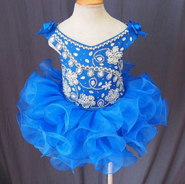Wholesale Princess Gowns For Infant - Royal Blue Girl's Pageant Dresses Flower Rhinestones Crystals Ball Gowns Infant Toddler Pageant Cupcake Pageant Dresses for Kids