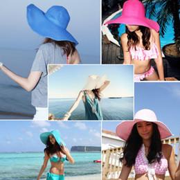 Wholesale Ladies Sunhats - Wholesale-New Fashion Chic Womens Ladies Wide Large Brim Summer Beach Sunhat Straw Cap