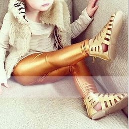 Wholesale Kid Girls Leather Trousers - Fashion Girl Dress Leggings For Kids Children Clothes Kids Clothing 2015 Leather Leggings Girls Tights Leggings Pants Long Trousers C12584