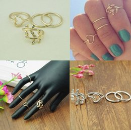 Wholesale Jewelry Tree Leaves - Fashion Silver Gold Sweetheart Tree Leaf Leaves Nail Band Mid-Finger Ring Set for Women Knuckle Ring jewelry 1Set=4pcs