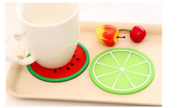 Wholesale Cute Mats - Cute multicolor fruit style cup mat silicone cup mat coaster Creative antiskid heat insulation cup mat