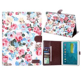 Wholesale Galaxy S2 Folio Case - Floral Denim Folio Leather Case Skin with Stand Card Pocket for Samsung Galaxy Tab S Tab E TAb S2 Tablet
