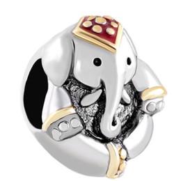 Tailandia encantos de plata online-Antique 'D Thailand Elephant charm Animal Bead En plata y oro Color Chapado Charm Fit Pandora pulsera europea
