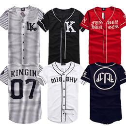Wholesale Men Baseball Tee S - Wholesale-2015 New Last King LK KNYEW 07 MISBHV Striped Baseball Jersey T Shirts Men Women Mesh V-Neck Jersey Hip Hop Street T-Shirts Tee