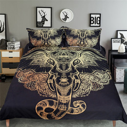 Wholesale God Elephant - 3 Pcs Tribal Elephant Bedding Sets Boho Mandala Golden Design Ethnic Indian God Ganesha Duvet Cover Indian Symbol Bed Set