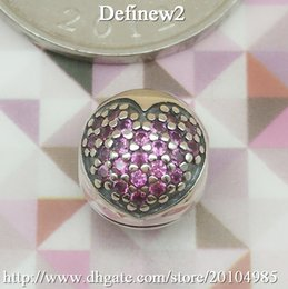 Wholesale Pandora Charms 925 Ale - Pink Pave Heart Clip charm Fits European pandora Bracelets & Necklaces Imbue Diamond Authentic 925% ALE Sterling Silver DIY beads clip