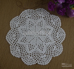 Wholesale Hand Crochet Doilies - Crochet Doily hand made understated luxury tablecloths cup mat 24-28CM White 20pcs LOT aa63