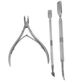 Wholesale Cuticle Nippers Wholesale - Stainless Steel Nail Files Nail Tool Nail Tools Nails Cuticle Nipper Nail Art Spoon Cuticle Pusher Remover Cutter Clipper 3 Pcs set