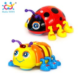 Wholesale Electric Beetle - Huile Toys 82721 Baby Toys Infant Crawl Beetle Electric Toy Bee Ladybug With Music & Light Learning Toys For Children Xmas Gifts