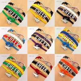 Wholesale Suede Leather Jewelry - Cheer Megaphone Charm Infinity Love Suede Leather Wrap Bracelets for Women Men Jewelry Any Theme Drop Shipping
