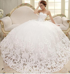 Wholesale Hot Sexy Chest - 2015 New Arrivals Fantastic Beatiful Sleeveless Elegant Sweet Princess Appliques Beads Lace up Wrapped Chest Ball Gown Wedding Dresses hot