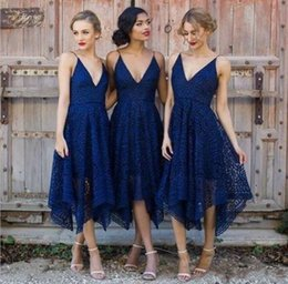 Wholesale Wedding Dresses Bridemaids - New Style Royal Blue Lace Bridesmaid Dress 2017 V Neck Backless Tea Length Maid of Honor Country Bridemaids Wedding Guest Gowns