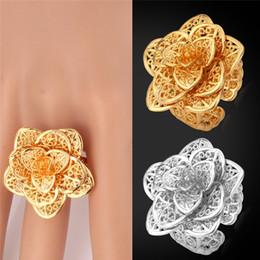 gioielli in miniatura all'ingrosso Sconti Anelli del fiore per le donne 18K oro reale / platino placcato 2015 gioielli di moda con scatola regalo anello di alta qualità di trasporto libero R101