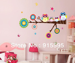 Wholesale Owls Branch Wall Decal - Free Shipping:Cute Colorful Owls Family Branch Butterfly Peel & Stick PVC Wall Stickers Decal Decor For Nursery Kid Room 61*75Cm