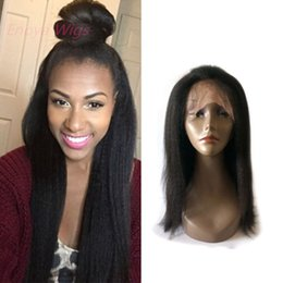 Wholesale Italian Yaki Full Lace Wigs - Top Italian Yaki 360 Lace Frontal Wig virgin Human Hair 360 Lace Wig Pre Plucked with baby hair bleached knots kinky straight 14inch