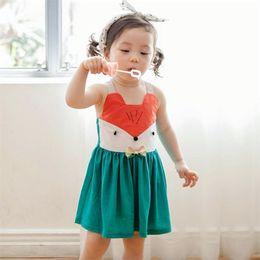 Wholesale Toddler Summer Halter Dresses - New Toddler Baby Girls Cartoon Dress Halter Summer Cute Squirrel Design Dress Sweet Kids Dress