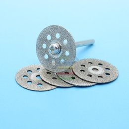 Wholesale Abrasive Wholesalers - 5pcs 22mm Mini Diamond Sharpen Cutting Disc Abrasive Discs Disks Cut Off Grinding Rotary Tools for Dremel +1pc Rod A3