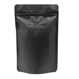Wholesale Valve Sealing - Black & White Stand Up Matte Pure Aluminum Foil Zip Lock with Vent Valve Food Storage Doypack Reclosable Grip Seal Party Pouch