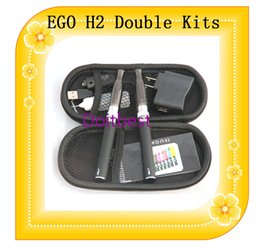 Wholesale Bbc Starter - H2 EGO double starter kits electronic cigarette GS H2 BBC rebuildable atomizer clearomizer 650mah 900mah 1100mah 1300mah ego t battery