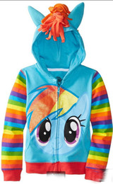 Wholesale Dash Clothing - 2105 Girls Clothes Best Sellers Baby Girls' Clothes Rainbow Dash Hoodie Printed Girls Autumn Coat Jacket Children Clothing 164