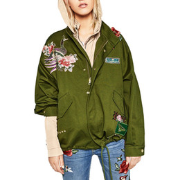 patch bomber women Coupons - Wholesale- Fashion women army green floral embroidery bomber jacket patched rivet design casual coat punk outwear