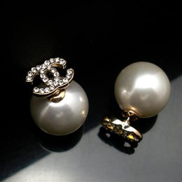 Wholesale Color Stud Earrings - 5pairs(10pcs)New Fashion Classic White Pearl Earring stud Crystal Plug Silver Gold Color
