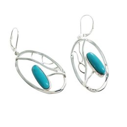 Wholesale Ship Chandelier For Sale - Turquoise sterling silver earrings original design jewelry for women free shipping within 7 days in big sale for E8037T
