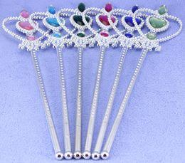 Wholesale Toy Crowns Tiaras - Fashion Hot Children Girls Cartoon Frozen Ornament Anna Elsa cosplay Crown Tiaras Children Party Accessories Magic Wand sticks