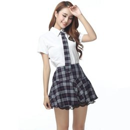 Wholesale Sexy Tie Uniforms - Hot Sale Red Gray Japanese Korea school uniforms sailor tops+tie+skirt Navy style Sexy Students clothes for Girl Plus size Lala Cheerleader