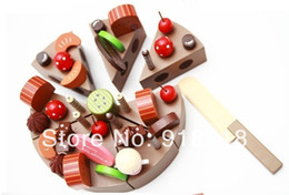 Wholesale Pretend Birthday Cake - Wholesale-Free shipping!!Wooden Baby Toys Birthday Chocolate Cake Wooden Simulation Cake Baby Pretend Play Toys Classic Toys For Girls
