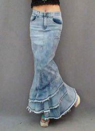 Argentina Nueva alta calidad 2013 pantalones vaqueros de moda falda larga del dril de algodón para las mujeres estilo delgado de la sirena falda de cintura alta con borlas XL Suministro