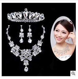2015 conjuntos de joyería nupcial de oro rosa Crema de imitación de perla de diamantes de imitación de cristal Diamante collar de novia y pendientes TOP0000000597 desde fabricantes