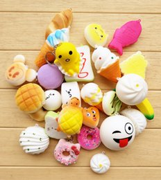 Wholesale Bread Toast Squishy Charm - Kawaii Squishies fruit Bun Toast Donut Bread for cell phone Bag Charm Straps keychains mixed Squishy slow rising lanyard scented