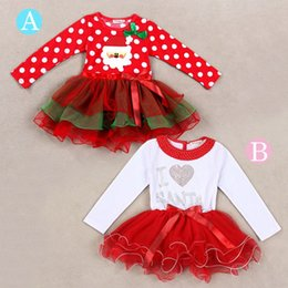 Wholesale Red Full One Piece Dress - 2016 hot sale baby girls Christmas one piece long sleeve tutu dress red Father Christmas  white love heart dress kids girl gift