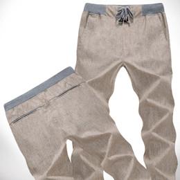 Wholesale Sport Fashin - Wholesale-New Thin Fashin Loose Linen joggers Casual Sport Men Pants Men's Trousers Summer Men Big Size M-XXL XXXL A1227