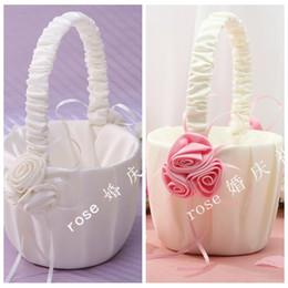 Wholesale Cheap Wedding Supplies Decorations - Wedding Supplies Flower Girl Baskets Pink Rose Basket Wedding Decorations Cheap