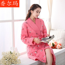 Wholesale Ladies Long Bath Robe - Wholesale- Winter Lady Pajamas Bath Robe Sleepwear Bathrobes Women Homewear Shawl Collar Soft Sleepwear Long Robe Home Clothes freeshipping