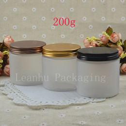 Wholesale Pet Food Containers - 200g Empty Transparent Frosted PET Cream Jar Aluminum Screw Cap Perfumes Container 200ml Skin Care Mask Pot ,Food Box 24pc lot