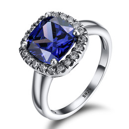 Wholesale 925 Silver Jewelry Blue Ring - 925 Sterling Silver Dark Blue Crystal Set Zircon Ring European Fine Jewelry Rings For Women Birthday wedding Anniversary Gift Wholesale