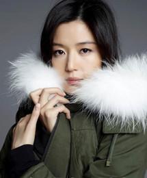 Wholesale Green Fur Hood Jackets - Mr & Mrs Furs Parkas white Real Raccoon Fur hood Lined with rabbit fur Ladies Jacket in Green