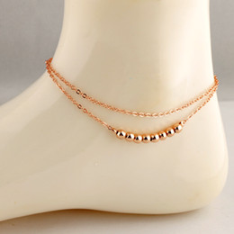 Wholesale Rose Gold Anklets - Korean rose gold plated double chains fashion bell bead foot anklet for women 12pcs lot
