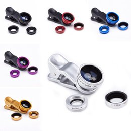Wholesale Iphone Camera Lens Kit - Universal 3 in 1 Clip on Macro Wide Angle Fish Eye Kit cellular Phone camera Lens For iPhone Samsung Sony LG HuaWei XiaoMi