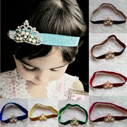 Wholesale Wholesale Hair Jewerly Accessories - Hot Sale Baby Hairband Jewerly Princess Crown With Glitter Cashmere Headband Hair Accessory 12 Colors CF335